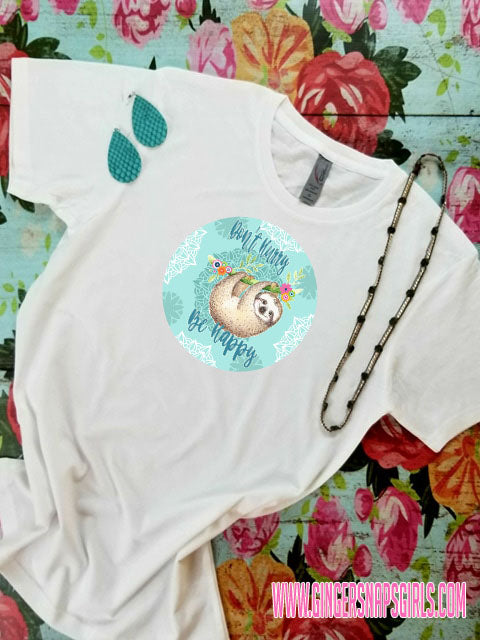 Sloth Don't Hurry Be Happy Watercolor Sublimation Design File