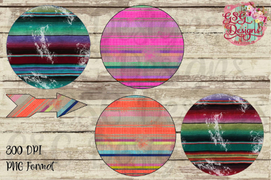Serape Grunge Design Circle Frames and Arrow, Instant Download Commercial Use Design Clipart for Printing or Sublimation and Design