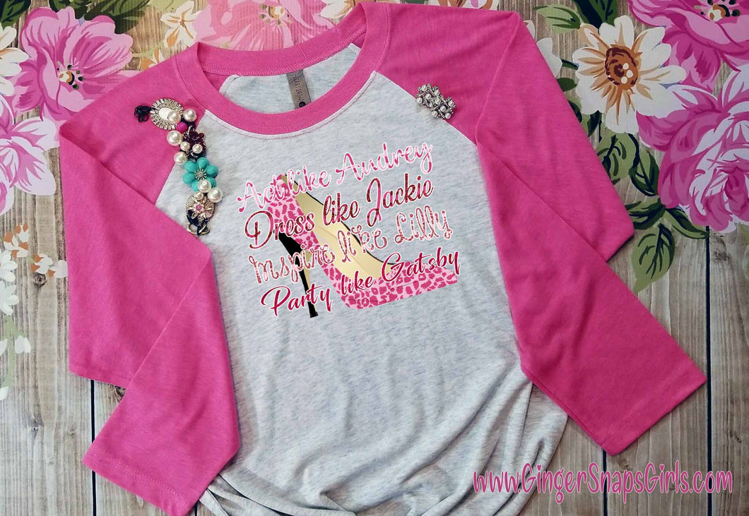 Act Like Audrey, Dress Like Jackie, Inspire Like Lilly, Party Like Gatsby Pink Leopard Digital Design File for Sublimation and Printing