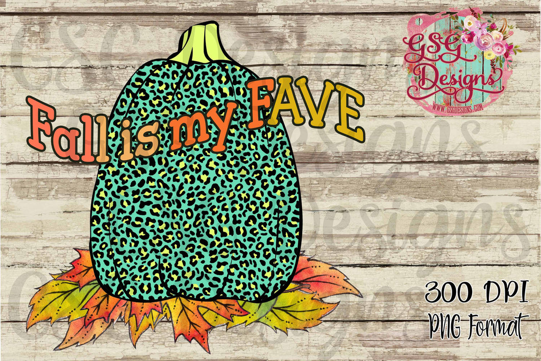 Fall is My Fave Turquoise Leopard Pumpkin Digital Design File .png