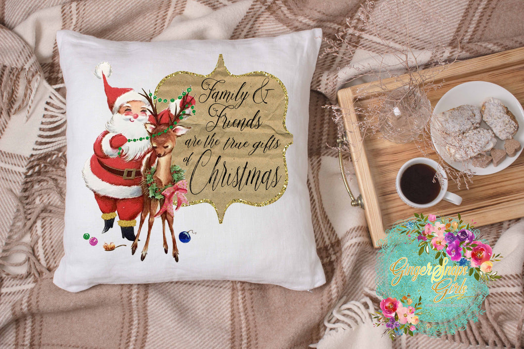 Vintage Santa Clause and Rudolph Family and Friends are the True Gift of Christmas Sublimation Transfers