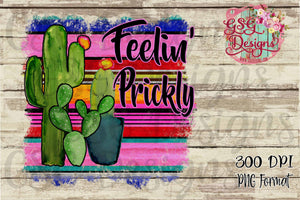 Feeling Prickly Serape and Cactus Boho Digital Design File PNG
