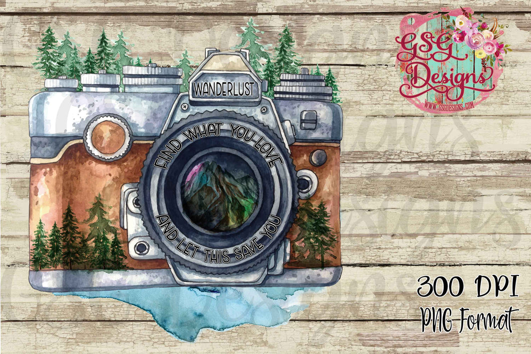 Wanderlust Camera Find What You Love Sublimation Transfers