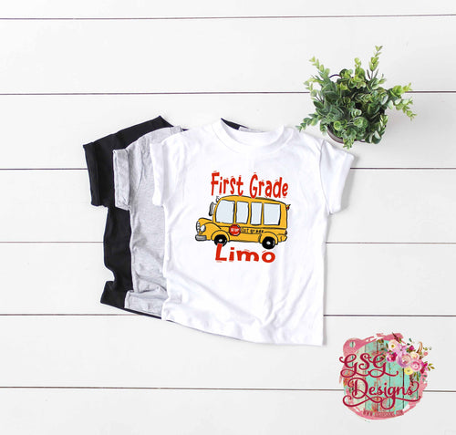 First Grade Limo School Bus All Grades Available Printable and Sublimation Design File PNG