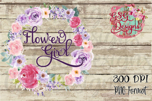 Flower Girl Purple Watercolor Floral Wreath Digital Sublimation Design File PNG