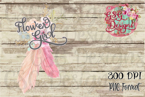 Flower Girl Pink Watercolor Floral and Feathers Digital Sublimation Design File PNG
