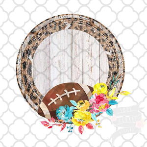 Leopard Football Frame vintage style Sublimation Transfers
