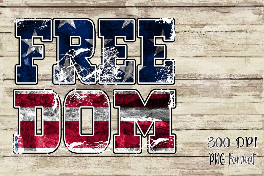 Freedom in American Flag Pattern patriotic Sublimation Transfers