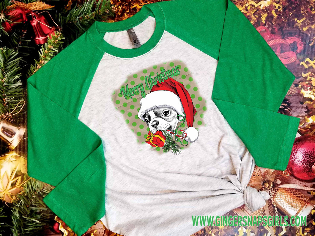 Merry Christmas Custom Frenchie in Santa Hat Sublimation Design File