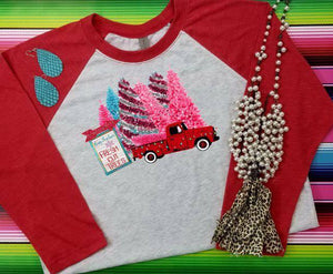 Old truck fresh cut trees pink funky Christmas vintage style Sublimation Transfers