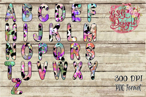 Funky Bright Leopard Bubble Letters Digital Design File for Sublimation and Printing