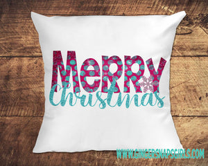 Funky Pink and Turquoise Glitter Merry Christmas vintage style Sublimation Transfers