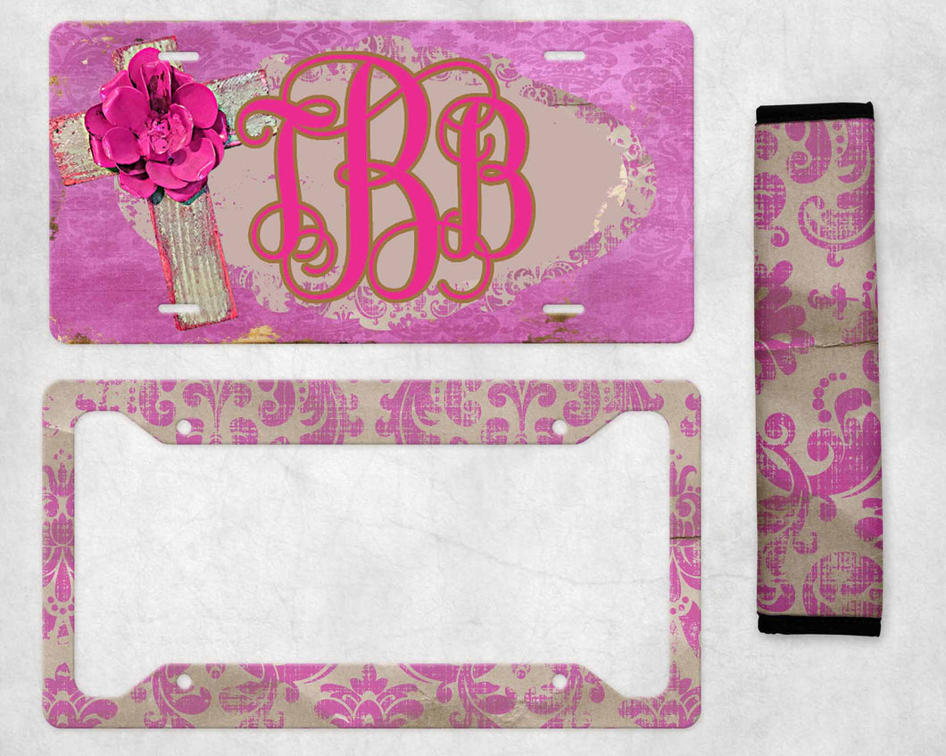 Rose Cross Boho Monogram License Plate Sublimation Transfers