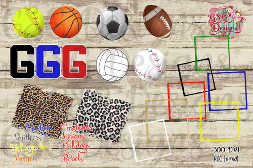 Go Football Soccer Volleyball Basketball Softball Baseball Custom clip art, digital design files