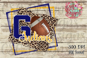 Go Football Leopard Team or School Pride Digital Design File in PNG format