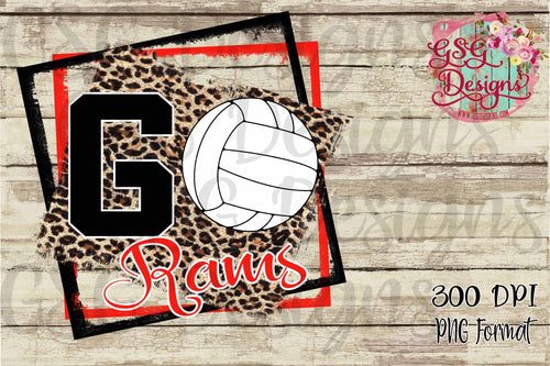 Go Volleyball Leopard Team or School Pride Digital Design File in PNG format
