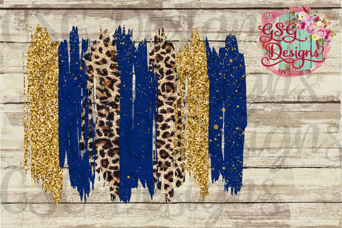 Blue, Gold Glitter, Leopard Brush Strokes Frame Screen Print Transfers - RTS