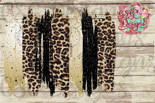 Black, Gold Glitter, Leopard Brush Strokes Frame Screen Print Transfers - RTS
