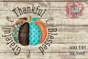Grateful, Thankful, Blessed Colorful Pumpkin Sublimation Transfers