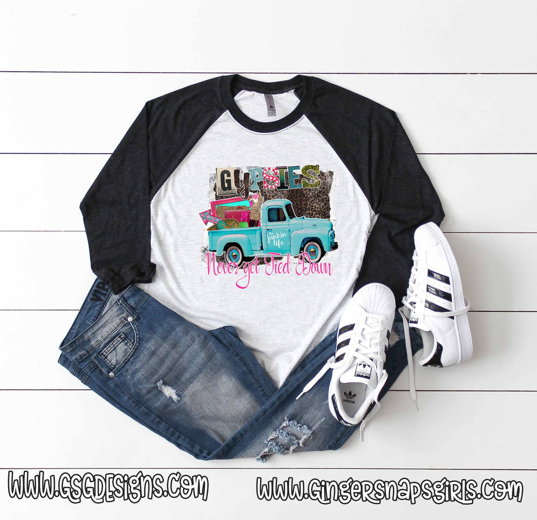 Gypsies Never Get Tied Down Antique Truck Leopard Boho and Funky Sublimation Transfers