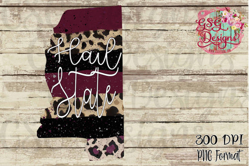 Mississippi Hail State Paint Brush Stroke Leopard and Burgundy Sublimation Transfers