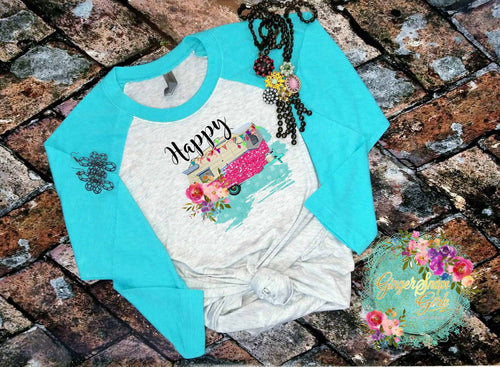Happy Camper Floral Watercolor and Glitter Digital Design File