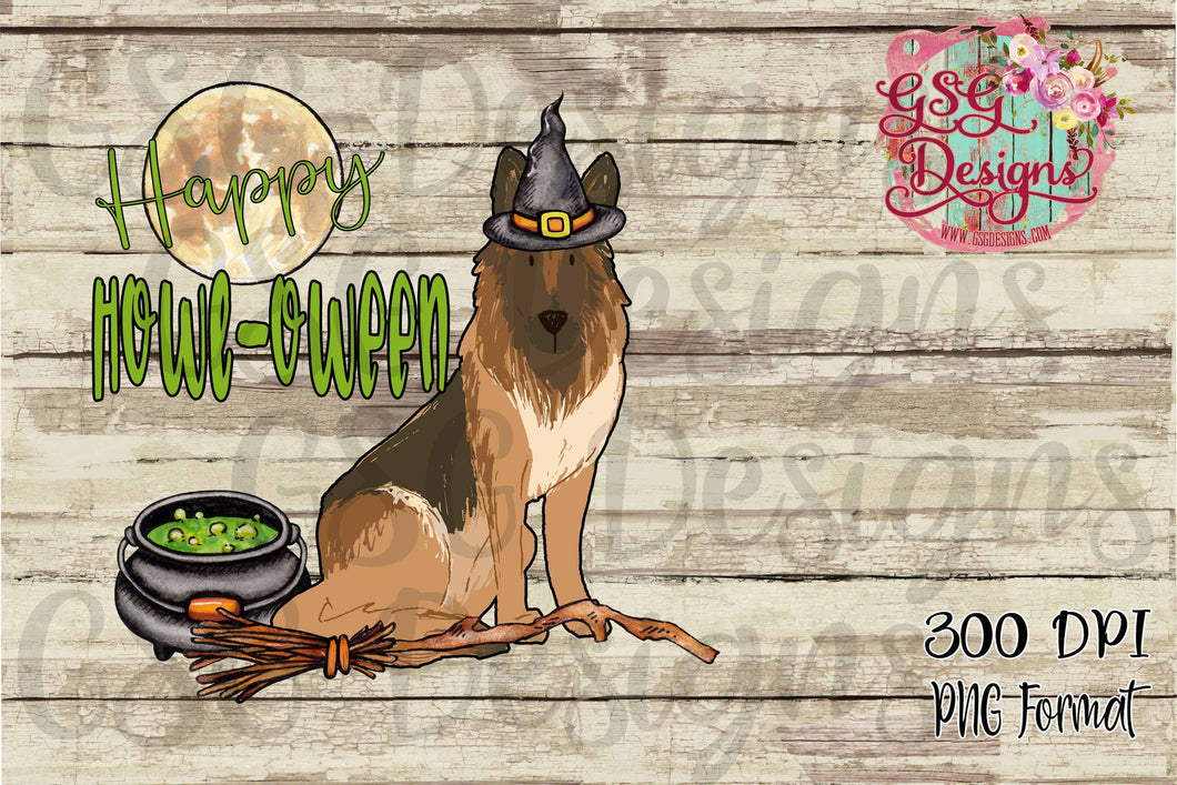 Happy Howl - oween German Shepherd Witch Halloween Sublimation Transfers