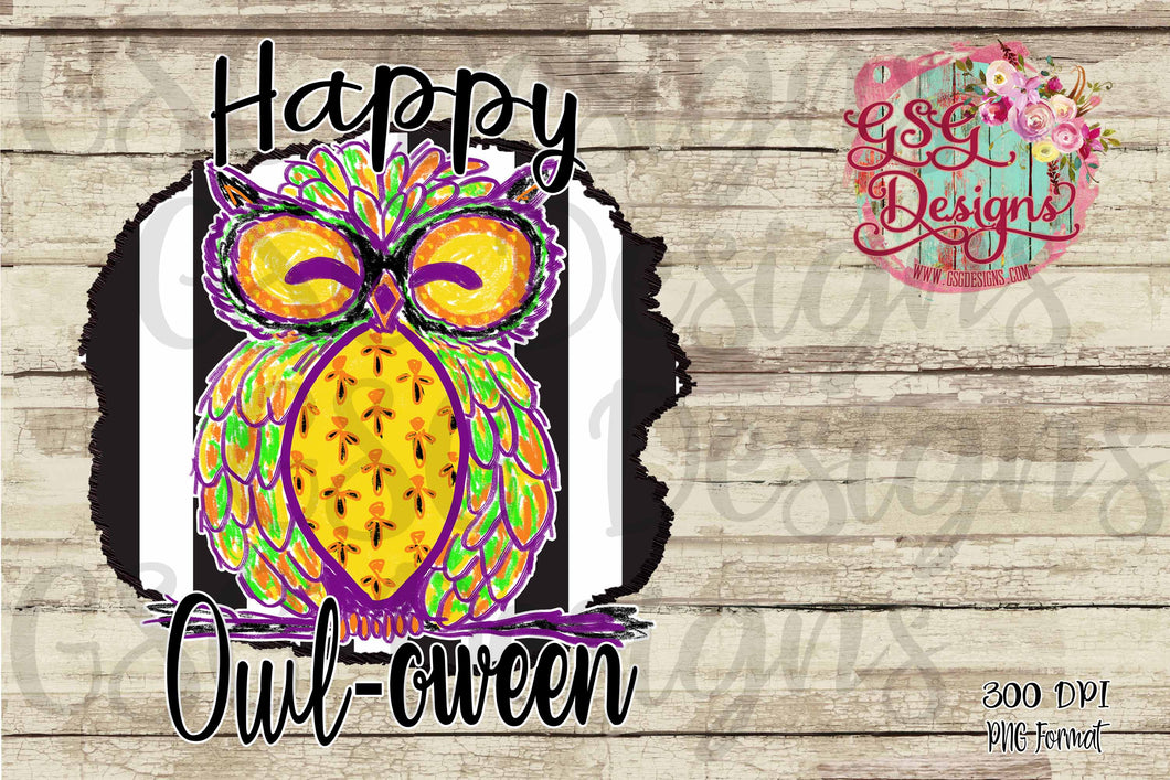 Happy Owl-oween Owl Hand Drawn Exclusive GSG Sublimation Transfers