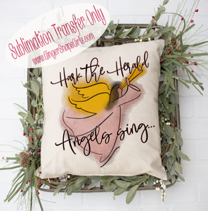 Watercolor Hark the Herald Angels Sing Christmas Sublimation Transfers