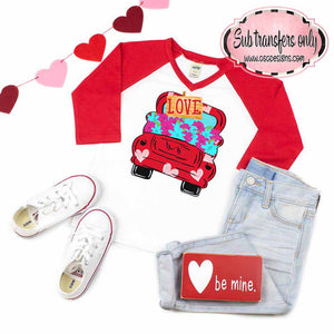 Love Truck with Hearts vintage style Sublimation Transfers
