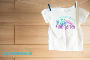 Hello Kindergarten Glitter Rainbow Printable and Sublimation Design File PNG