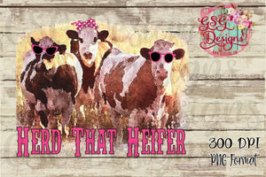 Herd That Heifer Cow Sublimation Transfers