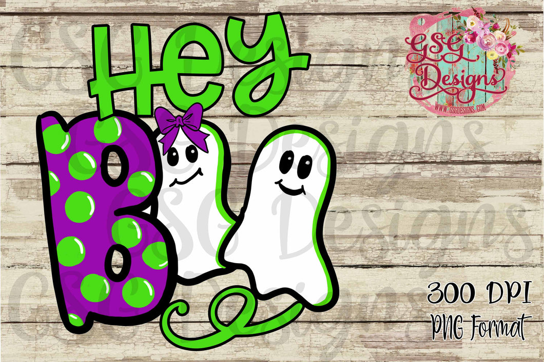 Hey Boo Ghost, Halloween Digital Design File .png