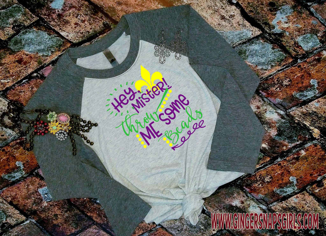 Throw Me Some Beads Mister Mardi Gras Fleur de lis glitter Sublimation Transfers