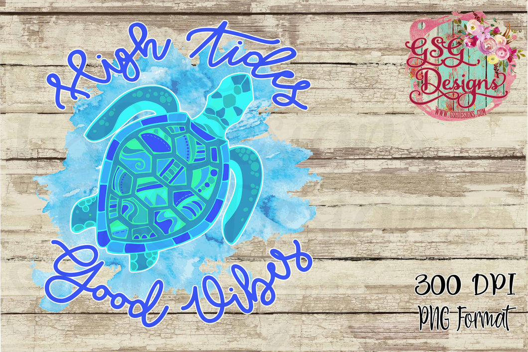 High Tides Good Vibes Mosaic Sea Turtle Sublimation Transfers