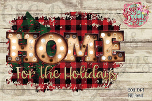 Home for the Holidays Plaid Christmas Digital Design File