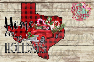 Home for the Holidays Custom Texas - All States Available- Buffalo Plaid Digital Printable and Sublimation Design File
