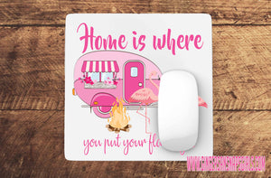 Home is Where You Put Your Flamingos Pink Camper Sublimation Transfers