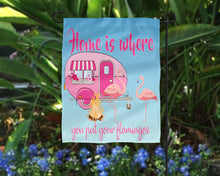Load image into Gallery viewer, Home is Where You Put Your Flamingos Pink Camper Digital Design File PNG