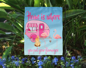 Home is Where You Put Your Flamingos Pink Camper Digital Design File PNG
