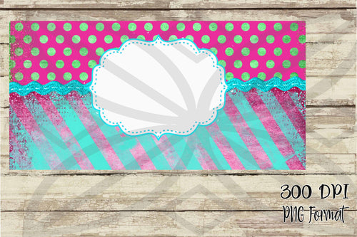 Pink Carnival Polka Dots and Stripes Monogram License Plate Digital Design File