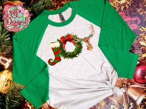 Joy Stocking Christmas Wreath and Deer Sublimation Transfers
