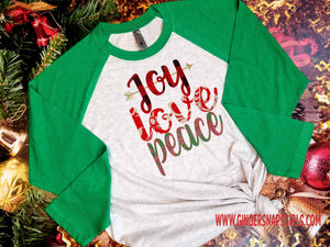 Joy Love Peace Christmas and Holiday Sublimation Transfers