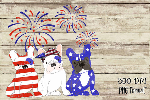 4th of July Frenchies Red, White & Blue Dog Mom Digital Design File PNG
