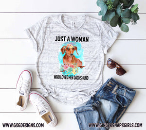 Just a Woman Who Loves her Dachshund floral watercolor Dog Mom Sublimation Design File