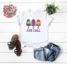 Load image into Gallery viewer, Just Chill Popsicle Tie Dye Boho Digital Design File PNG