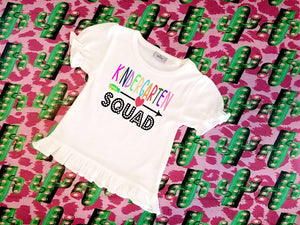 Personalized Back to School Squad Kindergarten-6th grade Sublimation Transfers