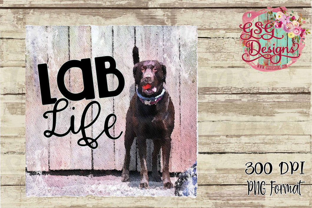 Lab Life Chocolate Labrador Retriever with Lacrosse Ball Digital Design File PNG