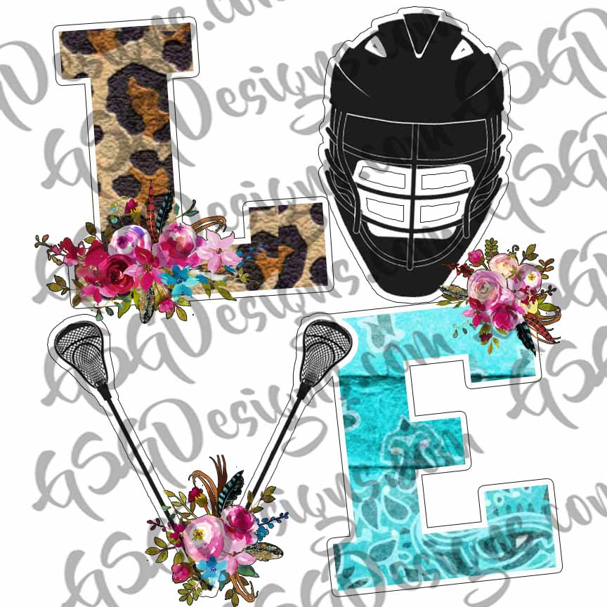 Love Lacrosse Funky Leopard and Flowers Lax Helmet and Poles Sublimation Transfers