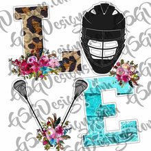 Load image into Gallery viewer, Love Lacrosse Funky Leopard and Flowers with Lax Helmet and Lax Poles Digital Design File PNG